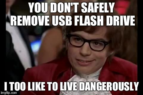 I Too Like To Live Dangerously Meme | YOU DON'T SAFELY REMOVE USB FLASH DRIVE I TOO LIKE TO LIVE DANGEROUSLY | image tagged in memes,i too like to live dangerously | made w/ Imgflip meme maker