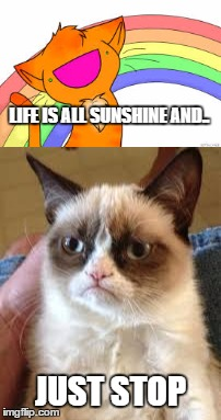 Grumpy Cat meets Happy Cat | LIFE IS ALL SUNSHINE AND.. JUST STOP | image tagged in grumpy cat | made w/ Imgflip meme maker