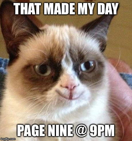 grumpy smile | THAT MADE MY DAY PAGE NINE @ 9PM | image tagged in grumpy smile | made w/ Imgflip meme maker