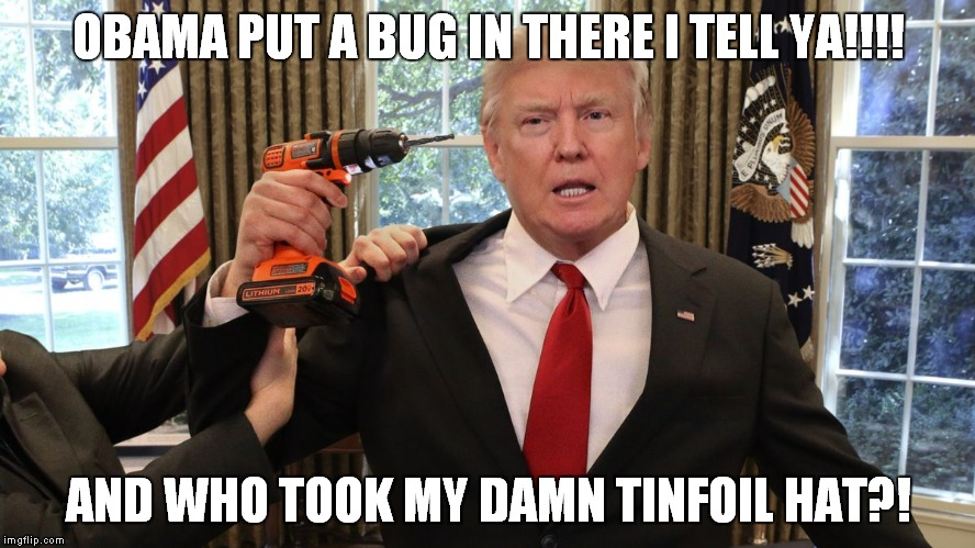 Trump's Gone Buggy | OBAMA PUT A BUG IN THERE I TELL YA!!!! AND WHO TOOK MY DAMN TINFOIL HAT?! | image tagged in donald trump is an idiot,trump is an asshole,wire tap,bugs | made w/ Imgflip meme maker
