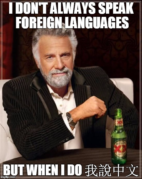 Frist meme | I DON'T ALWAYS SPEAK FOREIGN LANGUAGES BUT WHEN I DO 我說中文 | image tagged in memes,the most interesting man in the world | made w/ Imgflip meme maker