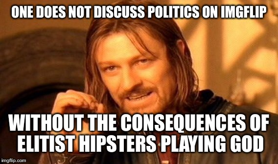 One Does Not Simply Meme | ONE DOES NOT DISCUSS POLITICS ON IMGFLIP WITHOUT THE CONSEQUENCES OF ELITIST HIPSTERS PLAYING GOD | image tagged in memes,one does not simply | made w/ Imgflip meme maker