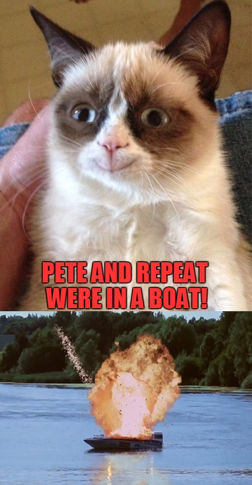 Pete and Repeat Were In Boat | PETE AND REPEAT WERE IN A BOAT! | image tagged in memes,pete and repeat,tammyfaye,grumpy cat is happy,what did you do grumpy | made w/ Imgflip meme maker