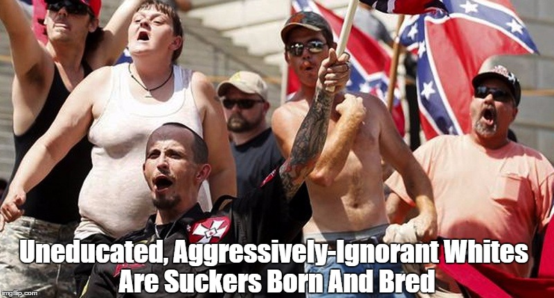 Uneducated, Aggressively-Ignorant Whites Are Suckers Born And Bred | made w/ Imgflip meme maker