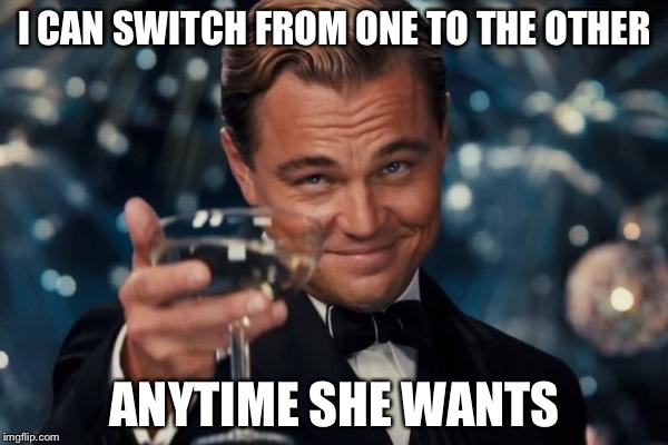 Leonardo Dicaprio Cheers Meme | I CAN SWITCH FROM ONE TO THE OTHER ANYTIME SHE WANTS | image tagged in memes,leonardo dicaprio cheers | made w/ Imgflip meme maker