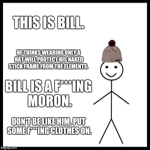 Be Like Bill | THIS IS BILL. HE THINKS WEARING ONLY A HAT WILL PROTECT HIS NAKED STICK FRAME FROM THE ELEMENTS. BILL IS A F***ING MORON. DON'T BE LIKE HIM. | image tagged in memes,be like bill | made w/ Imgflip meme maker