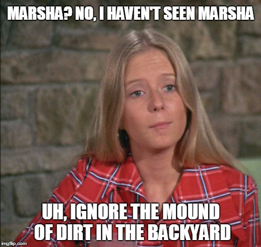 MARSHA? NO, I HAVEN'T SEEN MARSHA UH, IGNORE THE MOUND OF DIRT IN THE BACKYARD | made w/ Imgflip meme maker