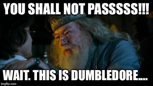 Angry Dumbledore | YOU SHALL NOT PASSSSS!!! WAIT. THIS IS DUMBLEDORE.... | image tagged in memes,angry dumbledore | made w/ Imgflip meme maker