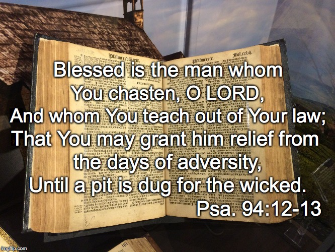 Blessed is the man whom You chasten, O LORD, And whom You teach out of Your law; That You may grant him relief from the days of adversity, U | image tagged in law | made w/ Imgflip meme maker