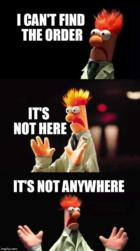 Bad Pun Beaker | I CAN'T FIND THE ORDER IT'S NOT HERE IT'S NOT ANYWHERE | image tagged in bad pun beaker | made w/ Imgflip meme maker