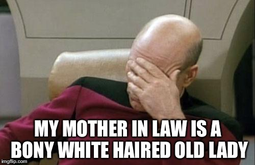 Captain Picard Facepalm Meme | MY MOTHER IN LAW IS A BONY WHITE HAIRED OLD LADY | image tagged in memes,captain picard facepalm | made w/ Imgflip meme maker