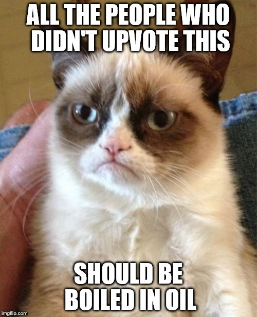 Grumpy Cat Meme | ALL THE PEOPLE WHO DIDN'T UPVOTE THIS SHOULD BE BOILED IN OIL | image tagged in memes,grumpy cat | made w/ Imgflip meme maker