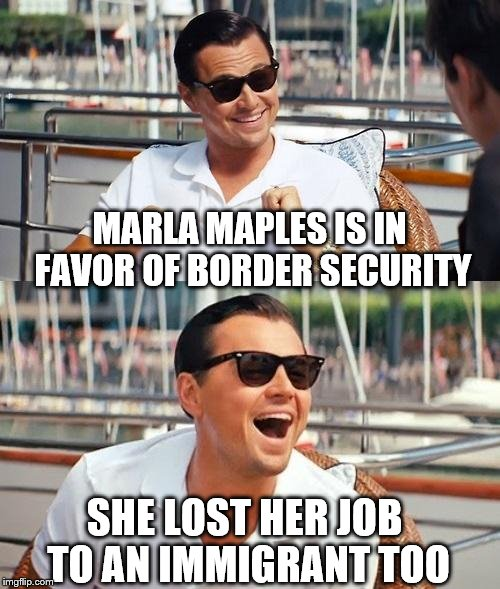 Leonardo Dicaprio Wolf Of Wall Street Meme | MARLA MAPLES IS IN FAVOR OF BORDER SECURITY SHE LOST HER JOB TO AN IMMIGRANT TOO | image tagged in memes,leonardo dicaprio wolf of wall street | made w/ Imgflip meme maker