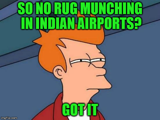 Futurama Fry Meme | SO NO RUG MUNCHING IN INDIAN AIRPORTS? GOT IT | image tagged in memes,futurama fry | made w/ Imgflip meme maker