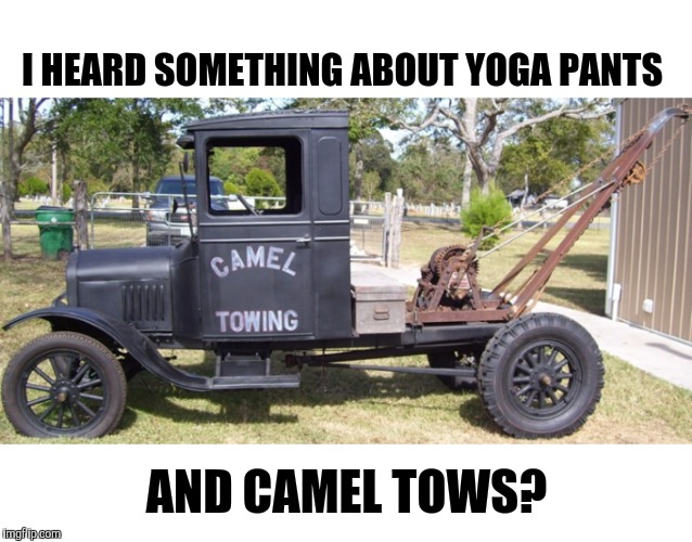 Figured I'd throw in on this one | I HEARD SOMETHING ABOUT YOGA PANTS AND CAMEL TOWS? | image tagged in yoga pants week,camel toe | made w/ Imgflip meme maker