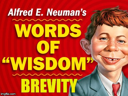 Neuman's Words of Wisdom | BREVITY | image tagged in neuman's words of wisdom | made w/ Imgflip meme maker