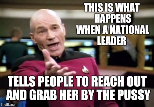 Picard Wtf Meme | THIS IS WHAT HAPPENS WHEN A NATIONAL LEADER TELLS PEOPLE TO REACH OUT AND GRAB HER BY THE PUSSY | image tagged in memes,picard wtf | made w/ Imgflip meme maker