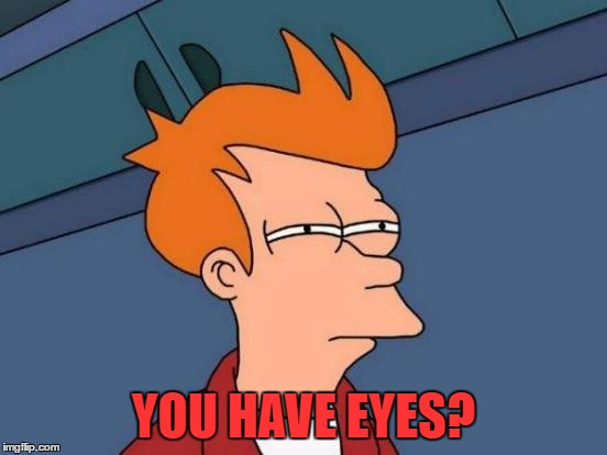 Futurama Fry Meme | YOU HAVE EYES? | image tagged in memes,futurama fry | made w/ Imgflip meme maker