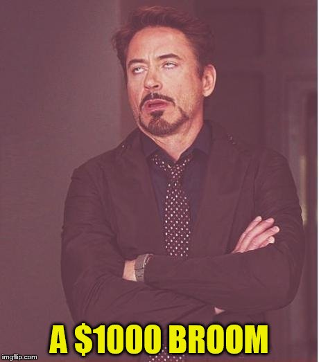 Face You Make Robert Downey Jr Meme | A $1000 BROOM | image tagged in memes,face you make robert downey jr | made w/ Imgflip meme maker
