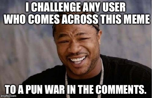 This is just a fun little challenge.The base meme is not supposed to be funny, I just used it because I thought it fit the best. | I CHALLENGE ANY USER WHO COMES ACROSS THIS MEME TO A PUN WAR IN THE COMMENTS. | image tagged in memes,yo dawg heard you | made w/ Imgflip meme maker