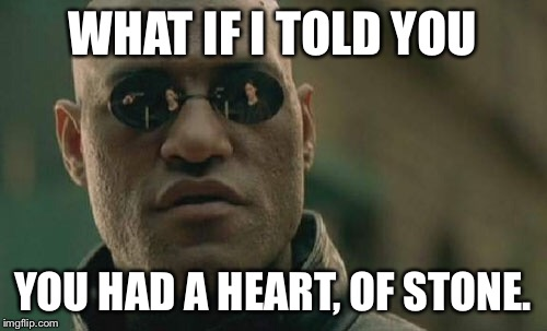 Matrix Morpheus Meme | WHAT IF I TOLD YOU YOU HAD A HEART, OF STONE. | image tagged in memes,matrix morpheus | made w/ Imgflip meme maker