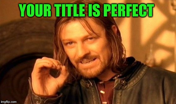 One Does Not Simply Meme | YOUR TITLE IS PERFECT | image tagged in memes,one does not simply | made w/ Imgflip meme maker