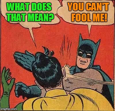 Batman Slapping Robin Meme | WHAT DOES THAT MEAN? YOU CAN'T FOOL ME! | image tagged in memes,batman slapping robin | made w/ Imgflip meme maker