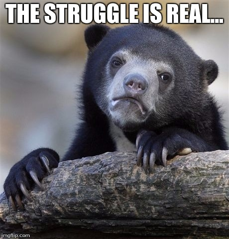 Confession Bear Meme | THE STRUGGLE IS REAL... | image tagged in memes,confession bear | made w/ Imgflip meme maker