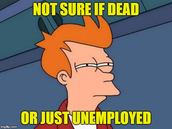 Futurama Fry Meme | NOT SURE IF DEAD OR JUST UNEMPLOYED | image tagged in memes,futurama fry | made w/ Imgflip meme maker