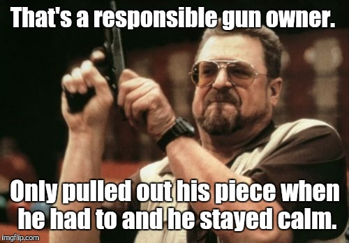 Am I The Only One Around Here Meme | That's a responsible gun owner. Only pulled out his piece when he had to and he stayed calm. | image tagged in memes,am i the only one around here | made w/ Imgflip meme maker