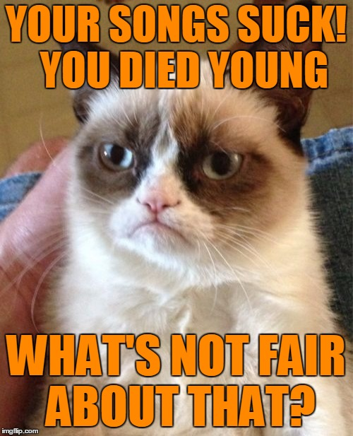 Grumpy Cat Meme | YOUR SONGS SUCK!  YOU DIED YOUNG WHAT'S NOT FAIR ABOUT THAT? | image tagged in memes,grumpy cat | made w/ Imgflip meme maker