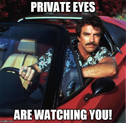 Magnum PI is watching you Hall & Oates | PRIVATE EYES ARE WATCHING YOU! | image tagged in magnum pi,hall and oates | made w/ Imgflip meme maker