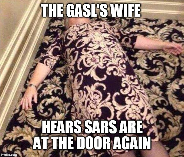 THE GASL'S WIFE HEARS SARS ARE AT THE DOOR AGAIN | image tagged in 1 | made w/ Imgflip meme maker