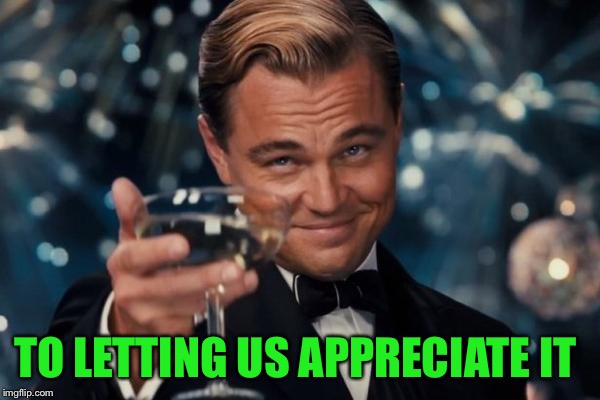 Leonardo Dicaprio Cheers Meme | TO LETTING US APPRECIATE IT | image tagged in memes,leonardo dicaprio cheers | made w/ Imgflip meme maker