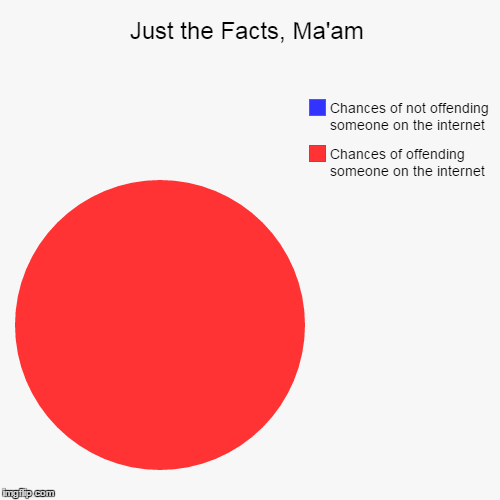 Care factor? Not high | Just the Facts, Ma'am | Chances of offending someone on the internet, Chances of not offending someone on the internet | image tagged in pie charts,memes,offended,expressing your opinion on the internet,butthurt,keep calm and meme on | made w/ Imgflip chart maker