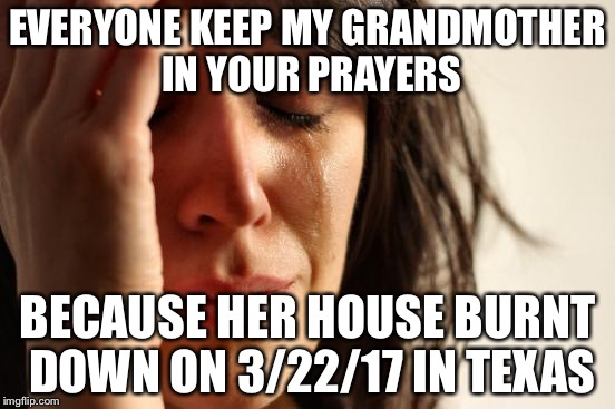 First World Problems | EVERYONE KEEP MY GRANDMOTHER IN YOUR PRAYERS BECAUSE HER HOUSE BURNT DOWN ON 3/22/17 IN TEXAS | image tagged in memes,first world problems | made w/ Imgflip meme maker