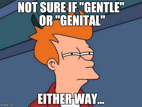 "Futurama Fry Meme | NOT SURE IF ""GENTLE"" OR ""GENITAL"" EITHER WAY... 