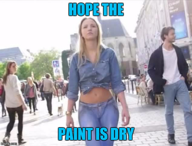Yoga pants week.  Sometimes there is something out there that might be better than yoga pants | HOPE THE PAINT IS DRY | image tagged in memes,yoga pants week,something better | made w/ Imgflip meme maker