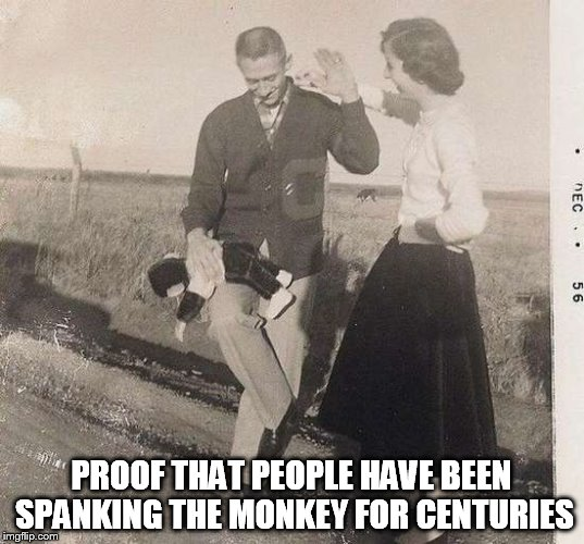 Monkey Spanker | PROOF THAT PEOPLE HAVE BEEN SPANKING THE MONKEY FOR CENTURIES | image tagged in monkey spanker,funny | made w/ Imgflip meme maker