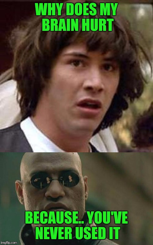 Neo had to ask.. |  WHY DOES MY BRAIN HURT; BECAUSE.. YOU'VE NEVER USED IT | image tagged in memes,morpheus,the matrix,funny | made w/ Imgflip meme maker