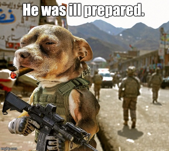 Army Dog | He was ill prepared. | image tagged in army dog | made w/ Imgflip meme maker