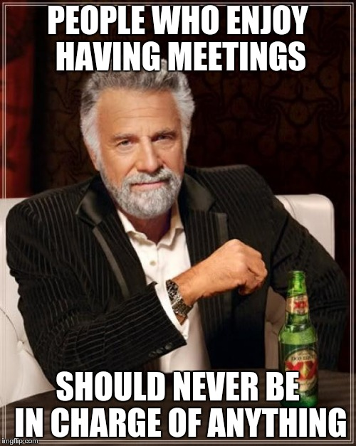 The Most Interesting Man In The World Meme | PEOPLE WHO ENJOY HAVING MEETINGS SHOULD NEVER BE IN CHARGE OF ANYTHING | image tagged in memes,the most interesting man in the world | made w/ Imgflip meme maker
