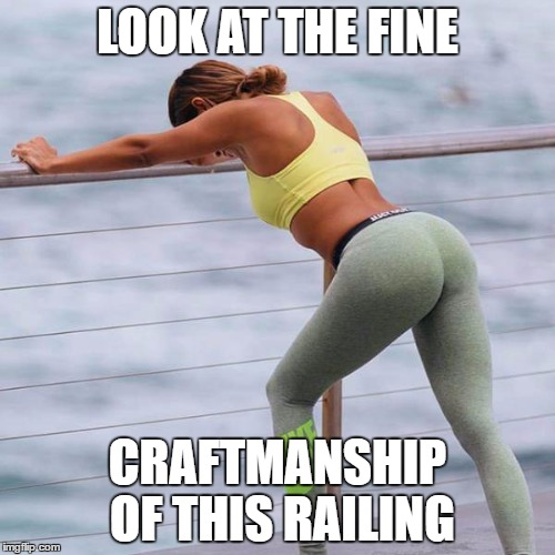 Nice Railing - Yoga Pants Week a Tetsuoswrath/Lynch event March 20th-27th | LOOK AT THE FINE CRAFTMANSHIP OF THIS RAILING | image tagged in yoga pants railing,tetsuoswrath,lynch1979,memes,good grief | made w/ Imgflip meme maker