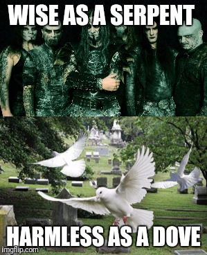 Metal apostles  | WISE AS A SERPENT HARMLESS AS A DOVE | image tagged in memes,metal,scripture | made w/ Imgflip meme maker