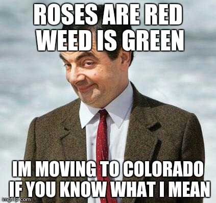 mr bean | ROSES ARE RED WEED IS GREEN IM MOVING TO COLORADO IF YOU KNOW WHAT I MEAN | image tagged in mr bean | made w/ Imgflip meme maker