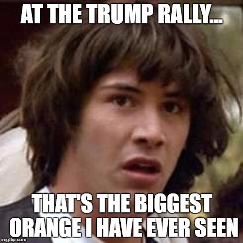 Conspiracy Keanu Meme | AT THE TRUMP RALLY... THAT'S THE BIGGEST ORANGE I HAVE EVER SEEN | image tagged in memes,conspiracy keanu | made w/ Imgflip meme maker