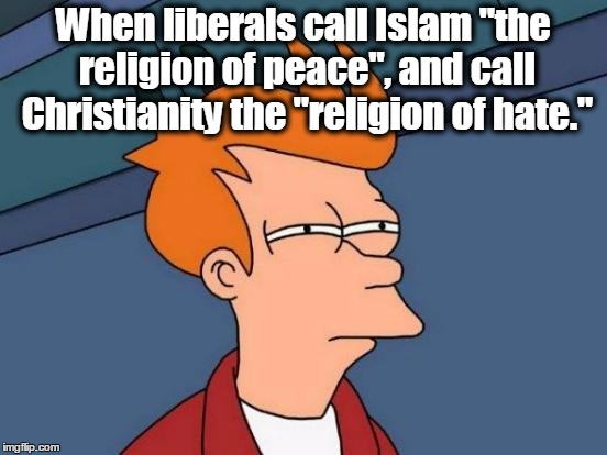 "Futurama Fry Meme | When liberals call Islam ""the religion of peace"", and call Christianity the ""religion of hate."" 