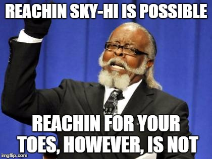 Too Damn High | REACHIN SKY-HI IS POSSIBLE REACHIN FOR YOUR TOES, HOWEVER, IS NOT | image tagged in memes,too damn high | made w/ Imgflip meme maker