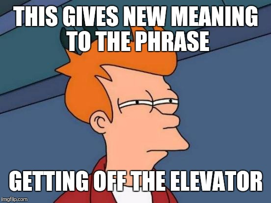 Futurama Fry Meme | THIS GIVES NEW MEANING TO THE PHRASE GETTING OFF THE ELEVATOR | image tagged in memes,futurama fry | made w/ Imgflip meme maker
