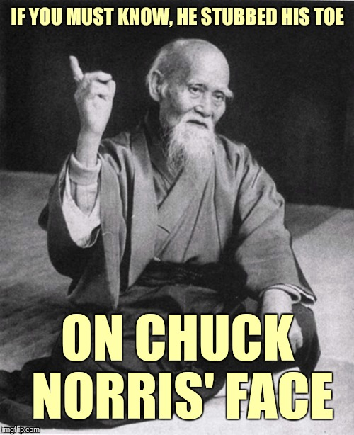 IF YOU MUST KNOW, HE STUBBED HIS TOE ON CHUCK NORRIS' FACE | made w/ Imgflip meme maker